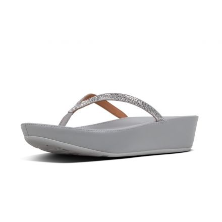 FitFlop Linny Crystalled Toe Post slippers zwart - Maat 36